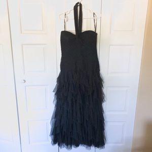 TADASHI Black Halter Shirred Tulle Gown Dress 16